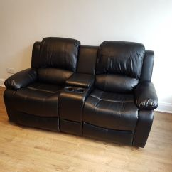Two Seater Recliner Sofa Gumtree Chesterfield Immediate Delivery 2 Black Faux Leather Chair With Cup