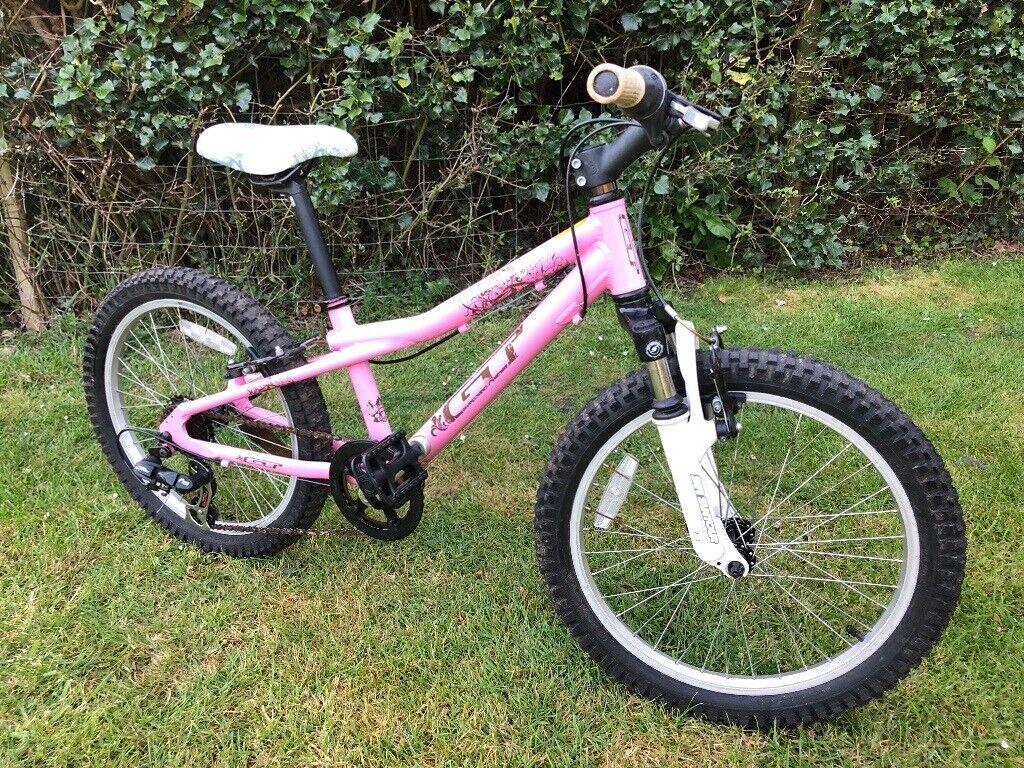 Girls mountain bike. GT Scamp. 20 inch. Pink. 7Speed Shimano Tourney. SR Suntour suspension fork | in West Horsley. Surrey | Gumtree