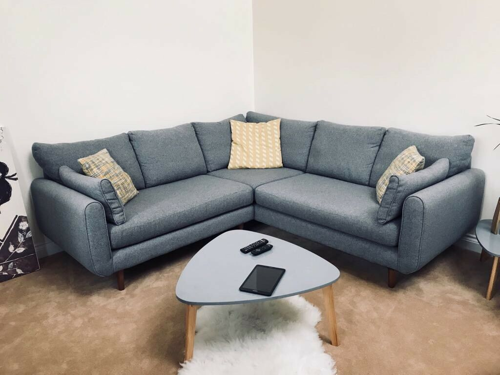 dfs corner sofa grey fabric dimension 2 places mint condition in exeter devon