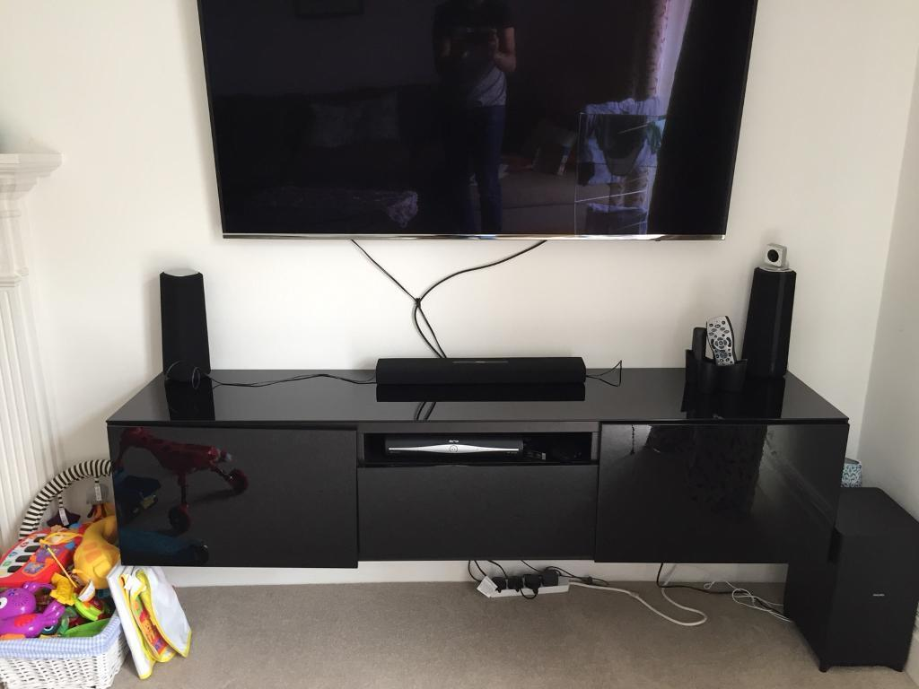 Ikea Besta Wall Mounted TV Stand Black Gloss In Southfields London Gumtree