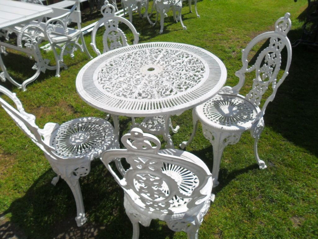 cast iron table and chairs gumtree chair stand test for lower body strength images vintage white aluminium bistro set 1950s round