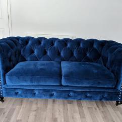 Blue Velvet Chesterfield Sofa Destination Tri Fold Reviews Beautiful Royal In Keston London