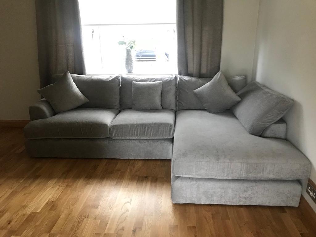 grey fabric sofa next t cushion slipcovers 2 piece corner in coatbridge north lanarkshire gumtree