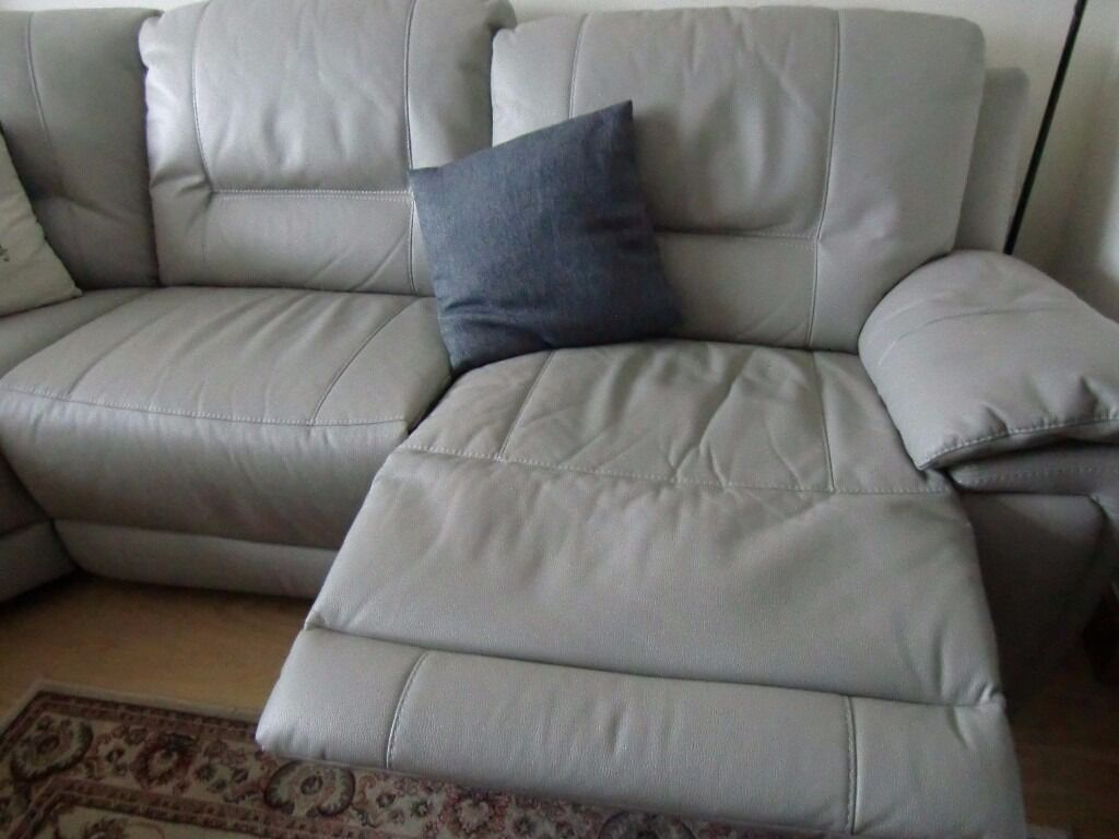 grey leather sofas harveys 2 seater home theatre recliner sofa almost new leatheraire corner unit in 3