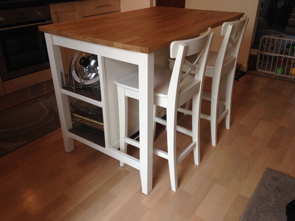 solid wood kitchen island storage **like new** with matching chairs, ikea ...