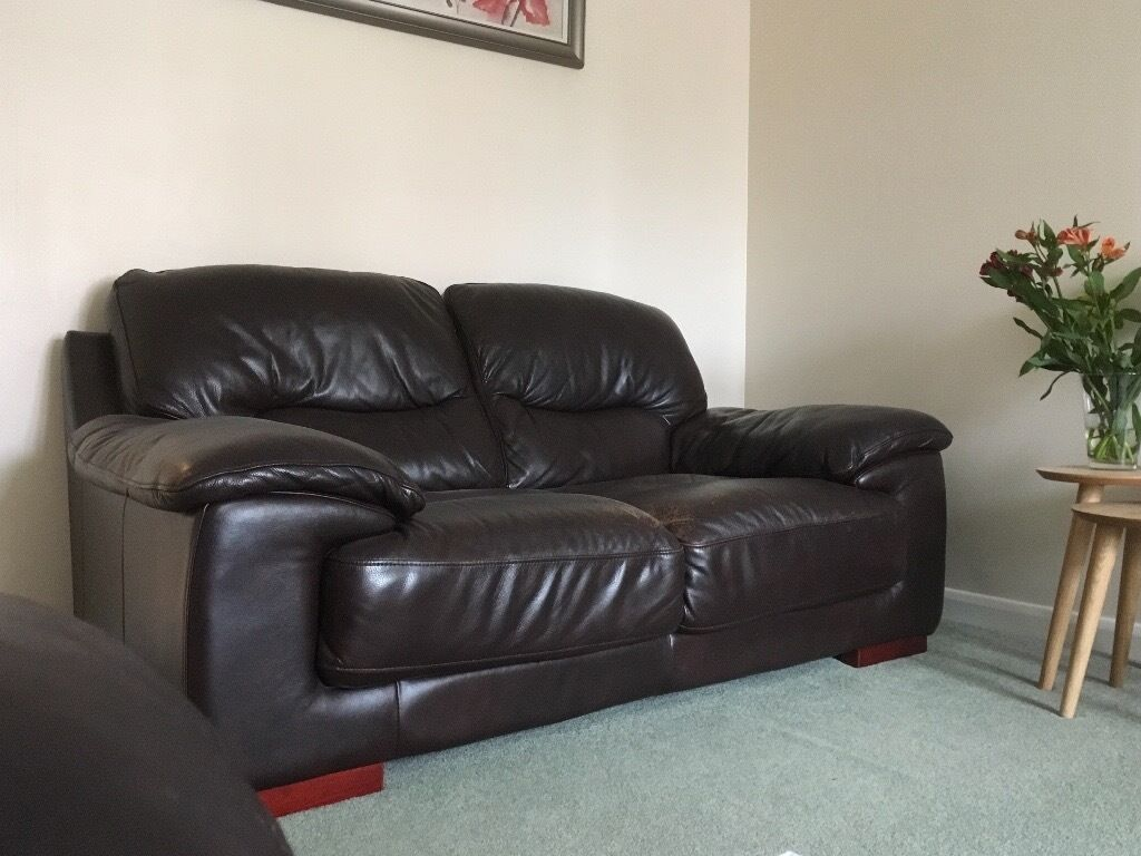 2 seater leather sofas at dfs how to make sofa cushions fuller two brown 3 years old from