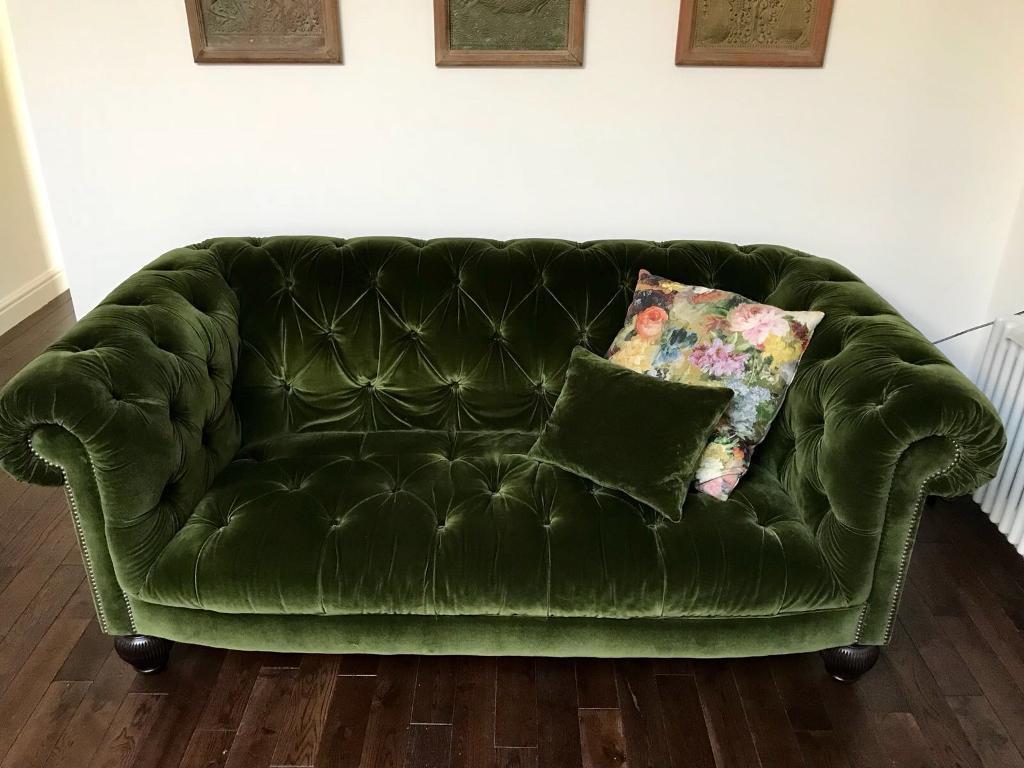 chesterfield sofa london second hand simmons sleeper sofas reviews green velvet 2 seater in brixton gumtree