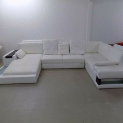 Modern U Shaped Leather Sofa The Dump Table White Italian Suite In
