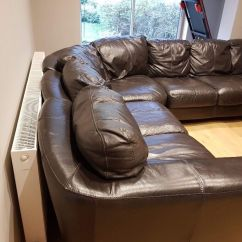 Leather Sofa Brown Dfs England Sleeper With Full Size Mattress Corner In Grimsby Lincolnshire