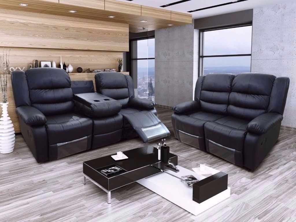bonded leather reclining sofa set best bed deals uk ryano 3 and2 recliner with pull down