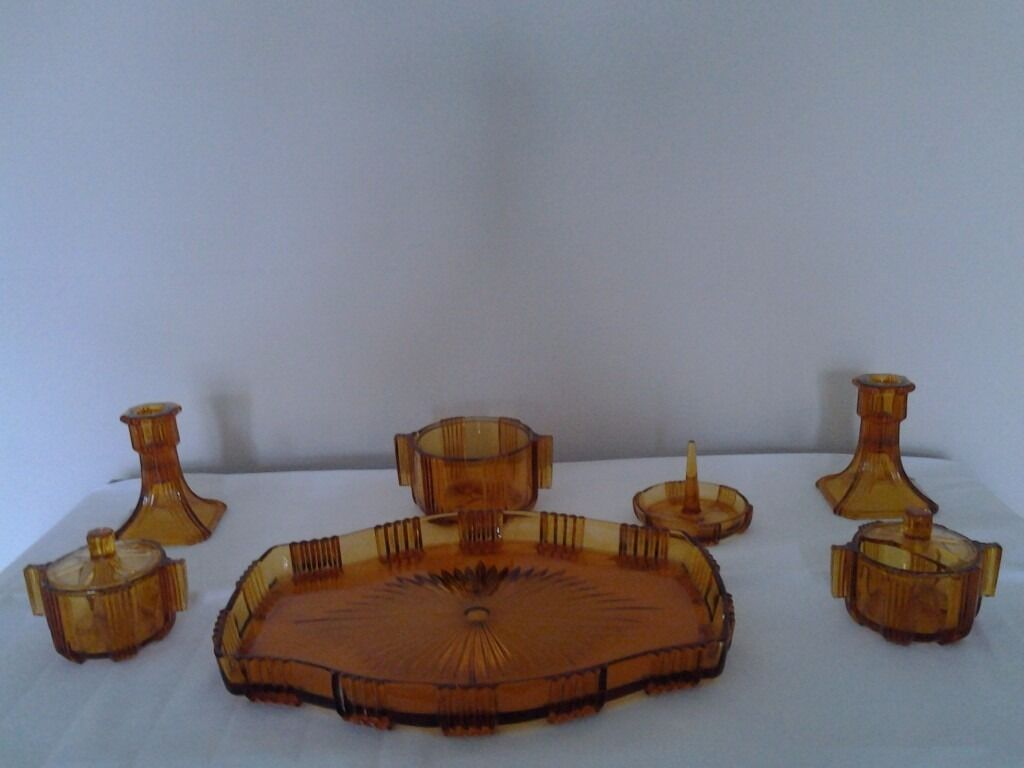 art deco sofas on gumtree back of sofa cabinet amber glass dressing table set in bourne