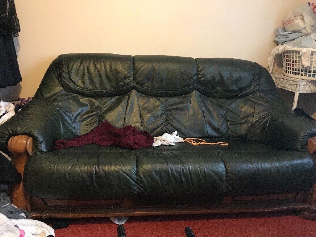dark green leather sofa jetton sleeper free in norwich norfolk gumtree