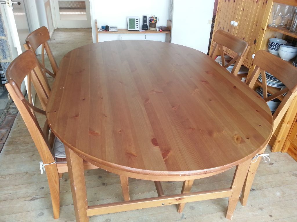 ikea wooden dining table 4 chairs top office leksvik and ingolf in