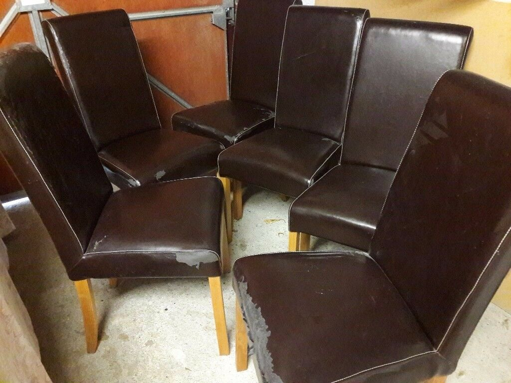 faux leather dining chair covers dinning seat 6 x brown room chairs with oak legs