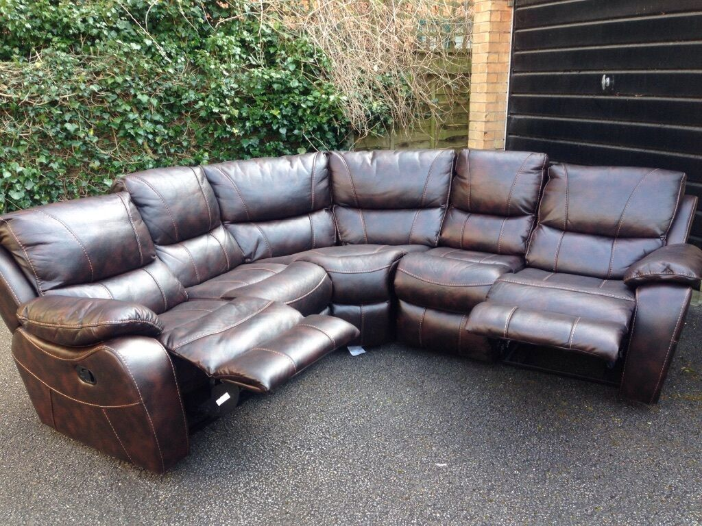 grey leather sofas harveys sofa for office bel air leathaire recling corner ex display ...