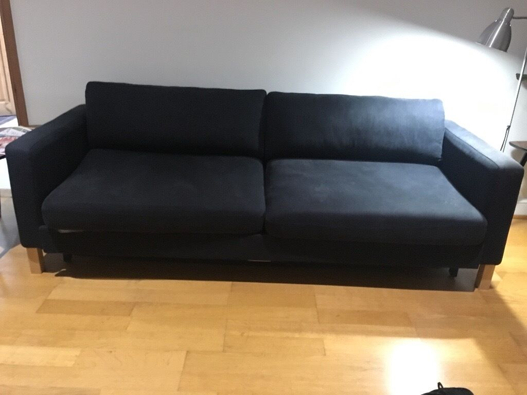 karlstad 3 seat sofa bed cover with chaise ikea seater velcromag