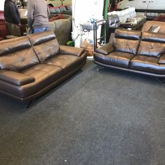Cheap Brown Leather 2 Seater Sofa 4 Set Cover Harveys Genoa Real 3 And