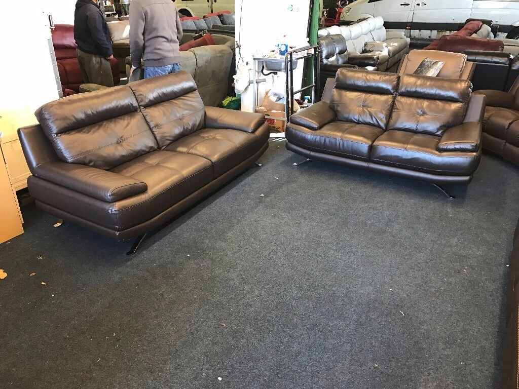 harveys 3 seater recliner sofa bed under 200 genoa real brown leather and 2 set
