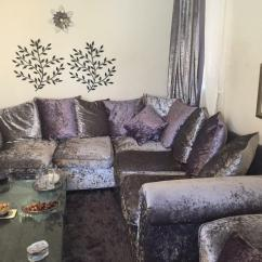 Purple Crushed Velvet Bedroom Chair And Half Sleeper New Silver Big Sofa Cuddle