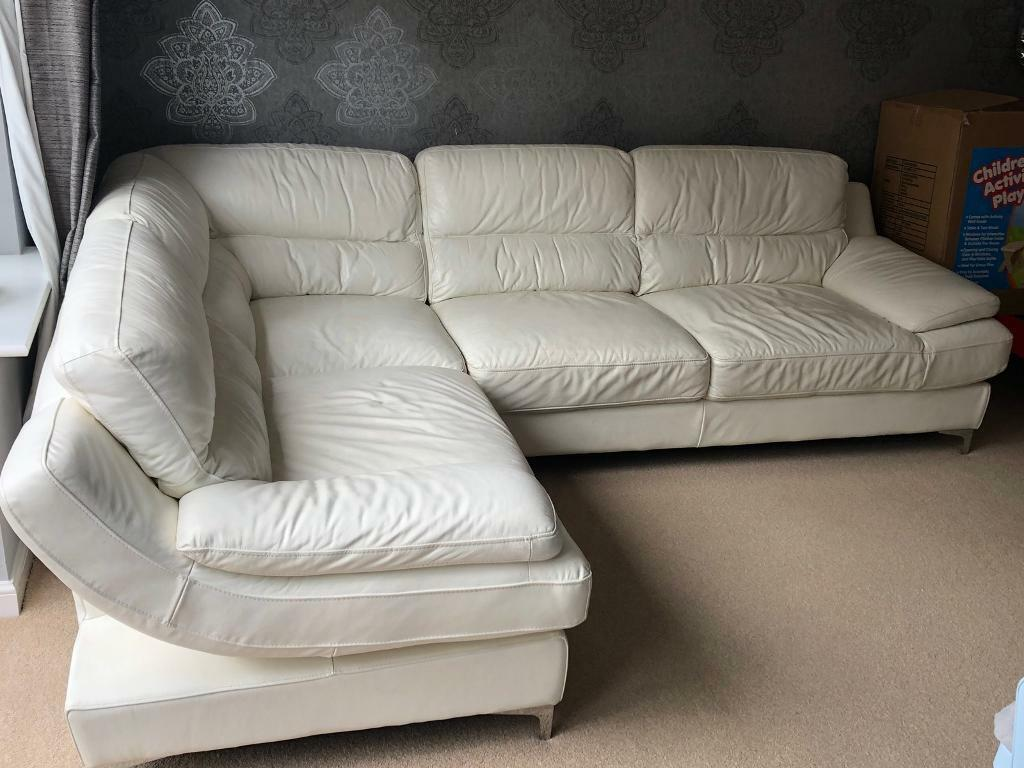 Between scarsdale and white plains. White leather corner sofa | in Chesterfield, Derbyshire ...