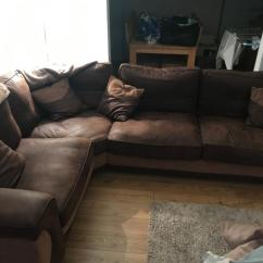 Corner Sofas Glasgow Gumtree Brown Leather Sofa With Blue Cushions Swivel Chair And Foot Stool For Sale In Southside