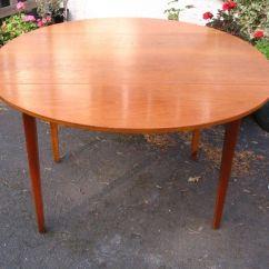 Retro Kitchen Table Free Standing Pantries Danish Design Dining 6 Seater Round Circular Drop Leaf Teak Mid Century