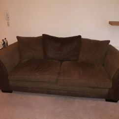 Suede Sofa Fabric Large Sectional With Ottoman 2 Seater Brown And Excellent Condition In