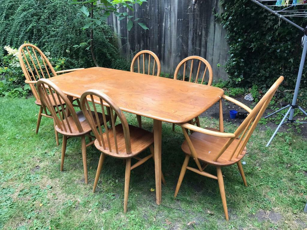 ercol windsor dining table and chairs chair covers for desk vintage 1960 39s plank with 4