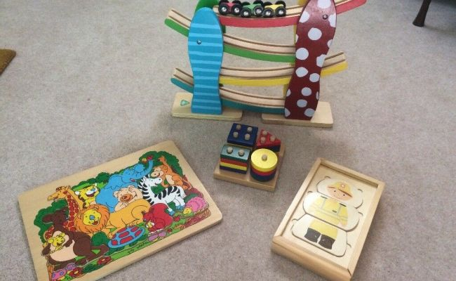 Wooden Toy Toddler Bundle Jigsaw Racing Cars Peg Board