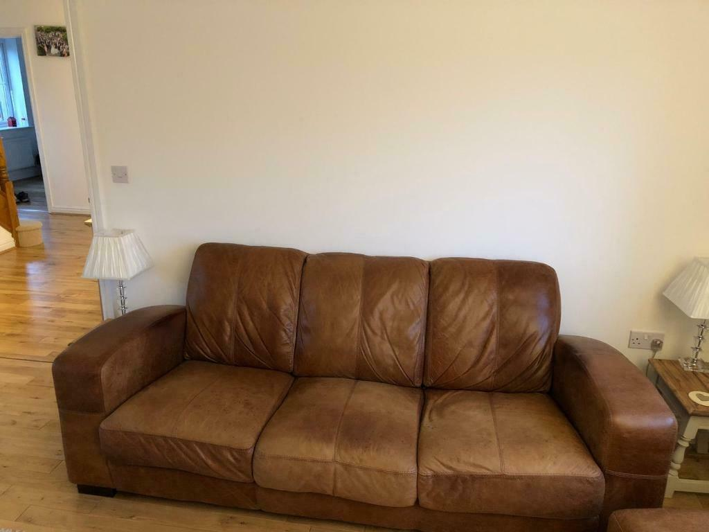 Distressed Tan Leather Sofa In Royal Wootton Bassett Wiltshire Gumtree