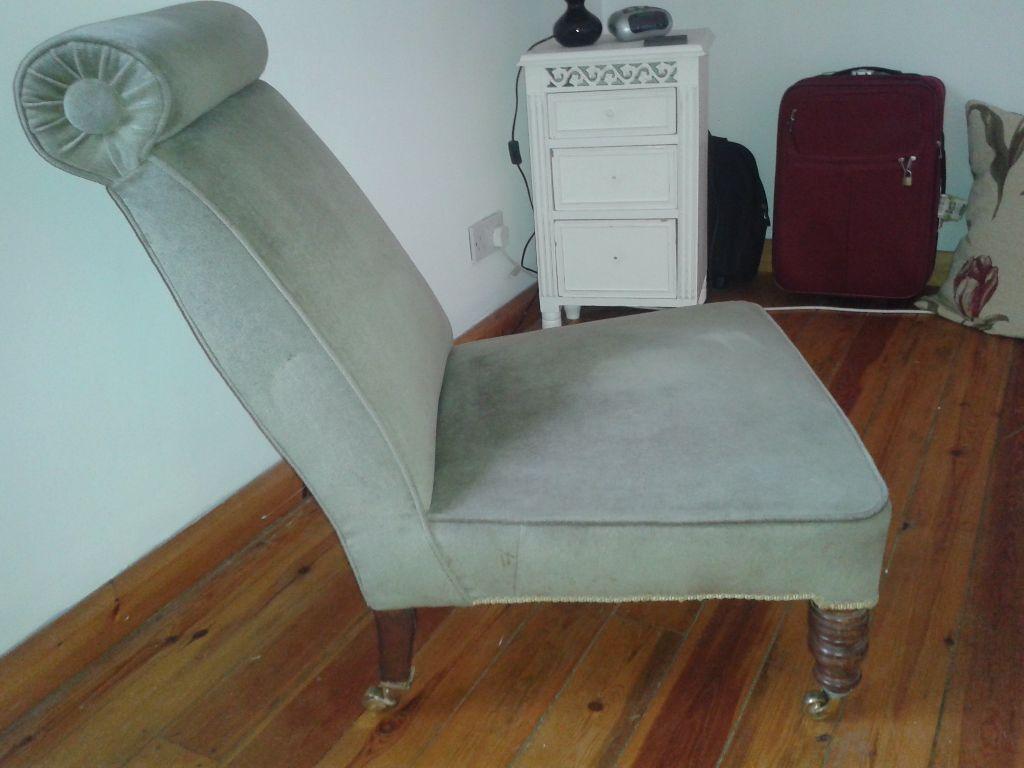 bedroom chair gumtree ferndown kitchen barstools chairs vintage pale green on casters in belper