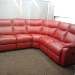 Leather Corner Sofa With Electric Recliner Best Sleeper Consumer Reports Ex Display Red In