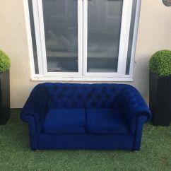 Blue Velvet Chesterfield Sofa Corner Set Online Purchase Reupholstered In Birchgrove Cardiff