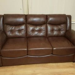 Sofa Set Glass Table Red Leather Dark Brown 3 433 432 Seater With Smart
