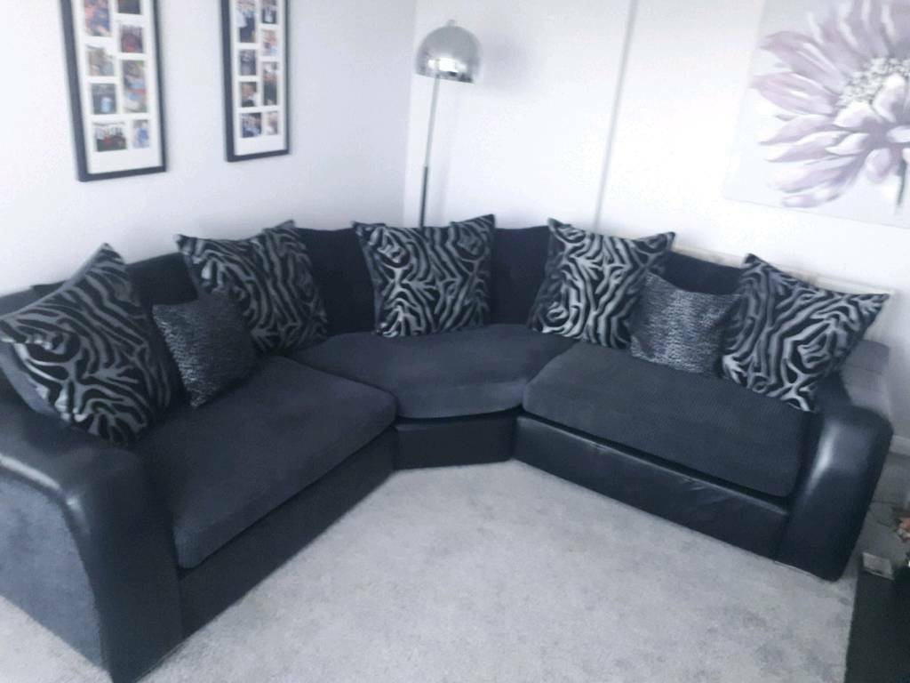 small black fabric corner sofa 3 seater covers online india and grey leather in blacon