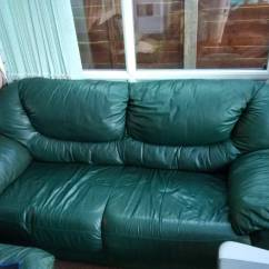 Dark Green Leather Sofa Pull Out Double Bed Used 3 Seater In Poole Dorset Gumtree