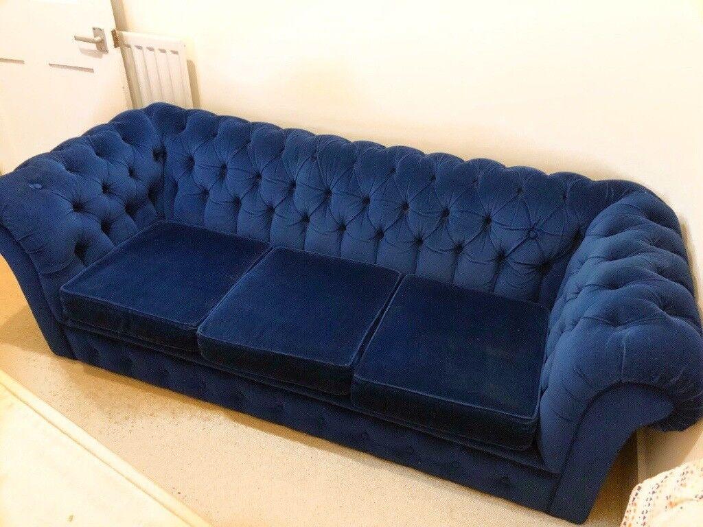 blue velvet chesterfield sofa set second hand in bangalore handmade 3 seater plush navy