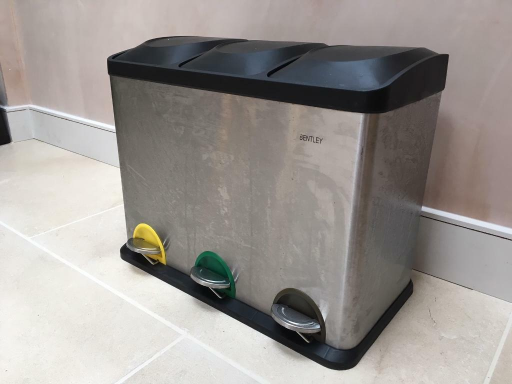 kitchen recycle bin composite sink charles bentley 45l waste 3 compartments in
