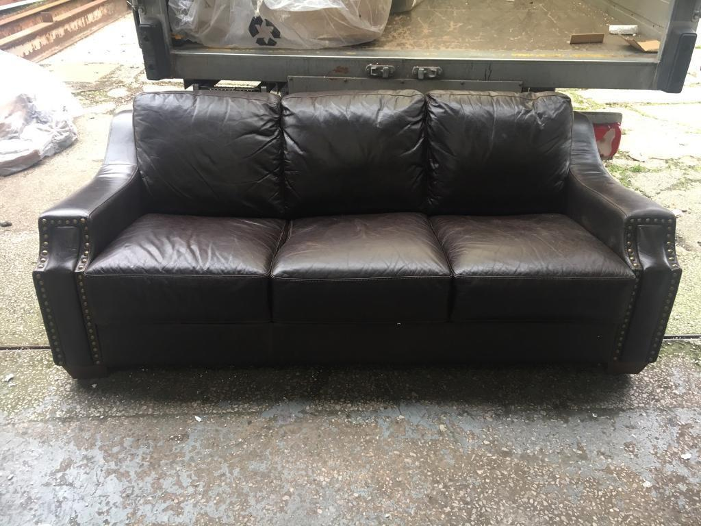 brown leather studded sofa lavender sectional vintage 3 seater in hindley manchester