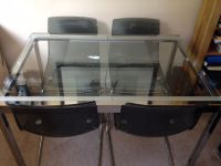 Ikea Glivarp Extendable Glass Dining Table and 4 Tobias ...