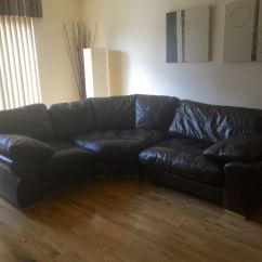 Dfs Brown Half Leather Corner Sofa New Curved Dark And Footstool In