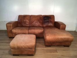 Tan real leather corner sofa set with free delivery within ...