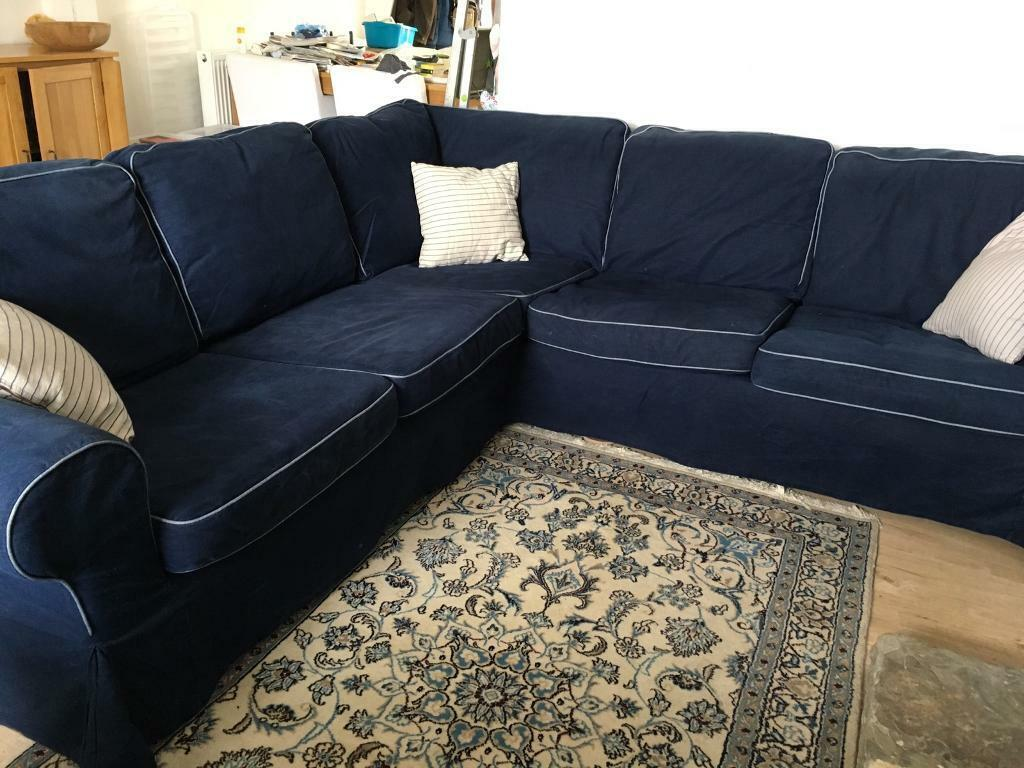 Each ektorp 3 seater slipcover set includes covers for 3 seat cushions,. IKEA Ektorp Corner Sofa Denim Blue/coversMUST SELL OFFERS ...