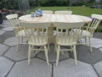Shabby Chic Solid Pine Oval Extending Table and 6 Chairs ...