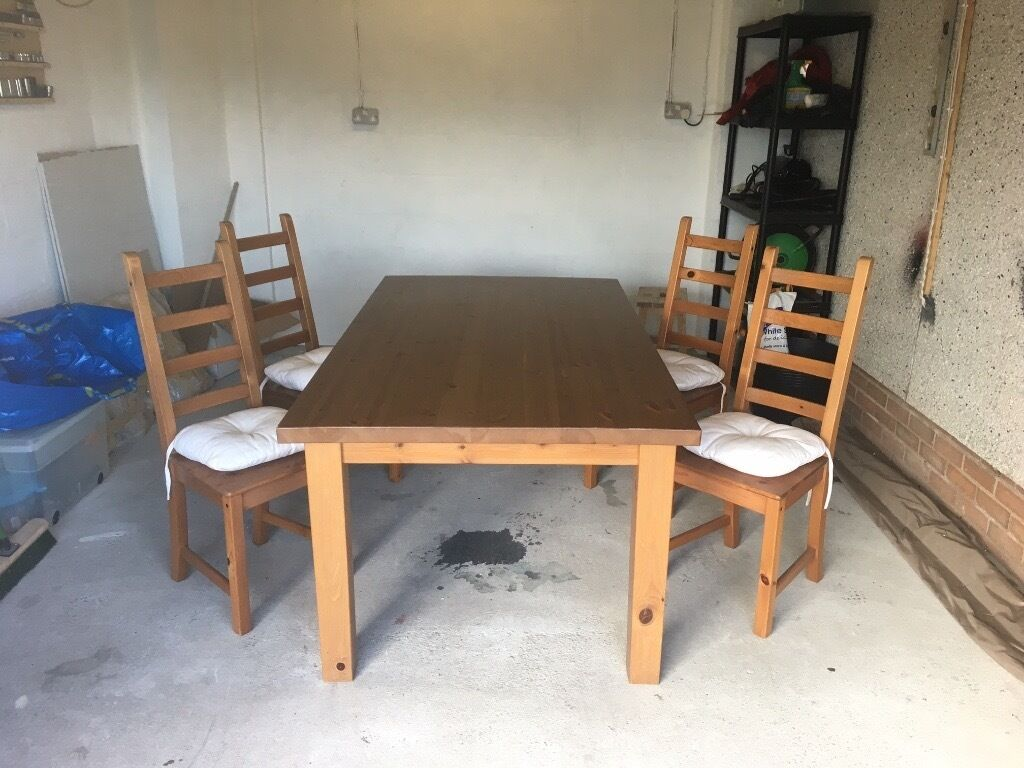 ikea wooden dining table 4 chairs white and 6 uk solid wood forsby 4x kaustby