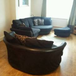 Black 3 Seater Sofa And Cuddle Chair Stickley Sterling Table Large Curved Pouffe In Caerphilly