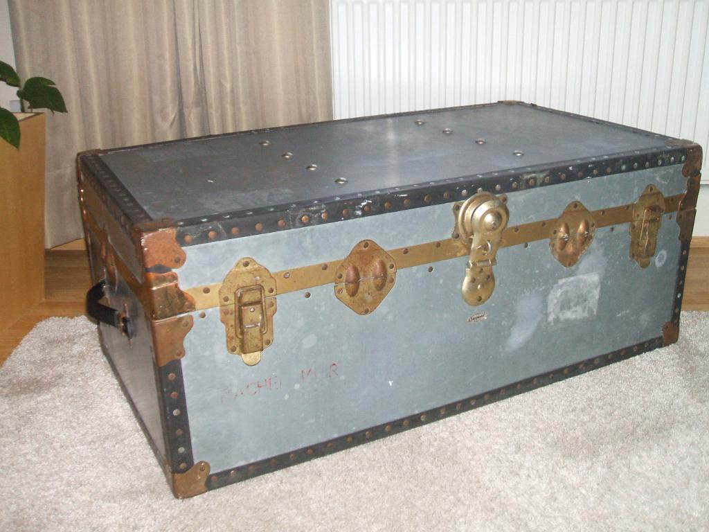 Vintage Overpond Metal Steamer Trunk Coffee Table Toy