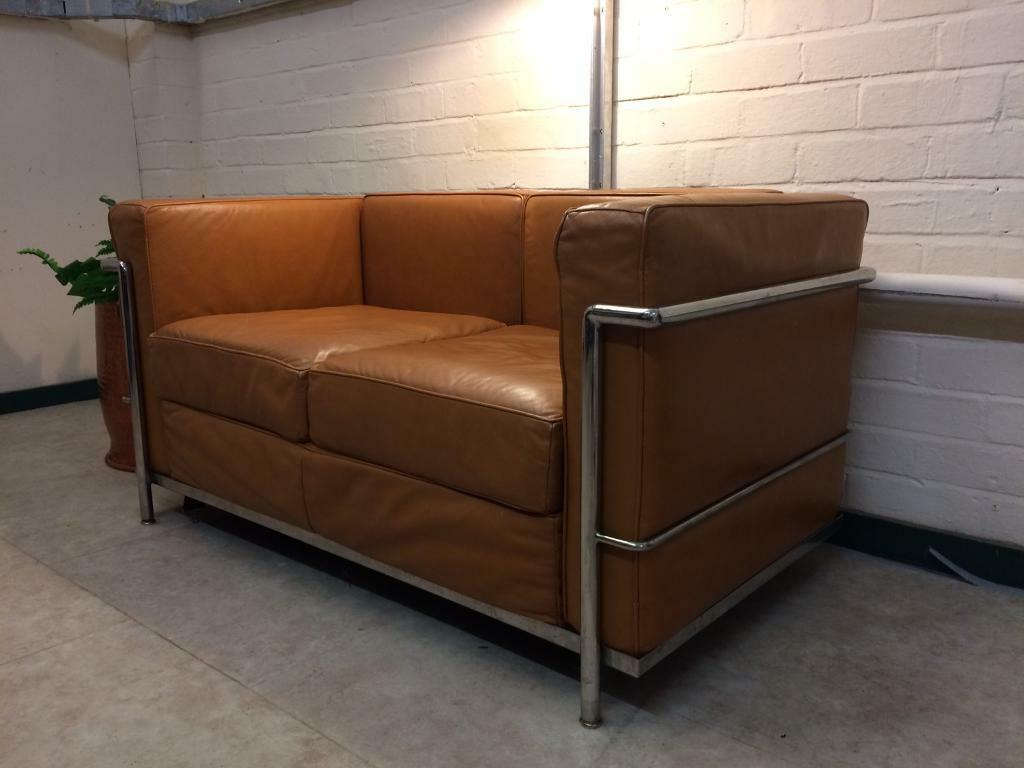 le corbusier sofa replica most comfortable sectional lc2 petite in tan leather kingswood