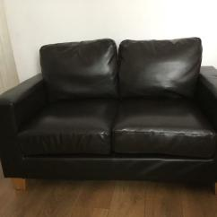 Cheap Brown Leather 2 Seater Sofa White Lacquer Table Faux Dark In Lowestoft