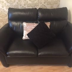 3 Seater Black Leather Sofa Lightweight Sleeper And 2 In Chapelhall North